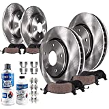 Detroit Axle - All (4) Front and Rear Disc Brake Rotors w/Ceramic Pads w/Hardware & Brake Cleaner & Fluid for 2002 2003 2004 2005 2006 Nissan Altima