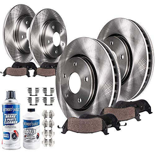 Mustang Brake Fluid - Detroit Axle - All (4) Front and Rear Disc Brake Rotors w/Ceramic Pads w/Hardware Clips & Brake Cleaner & Fluid for 1999 2000 2001 2002 2003 2004 Ford Mustang Base and GT Models Only