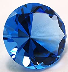 Dark Blue Diamond Shaped Glass Crystal Paperweight