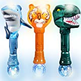 Ultra Fun Light Up Wand Set of 3 by ArtCreativity - Includes T-Rex, Tiger, & Shark Wands - Beautiful Art Detailing Plastic - LED Party Favors, Gift For kids - Batteries Included