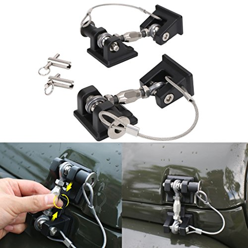 Jade Black Style Anti-Thief Hood Lock Latches Catch Locking Kit for Jeep Wrangler JK ()