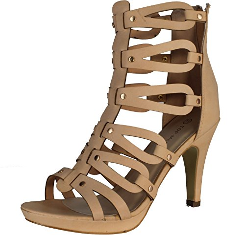 Top Moda SPIN-28 Women's Gladiator High Heel Sandals, Color:BLUSH, Size:8.5