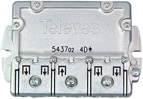 Televes 543702 - Repartidor EMC 4D, Acero Inoxidable, 1 unidad