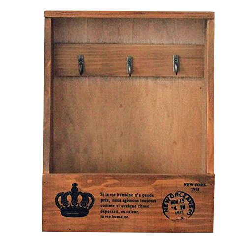 Olpchee Retro Wooden Wall Mounted & Tabletop Key Holder Rack