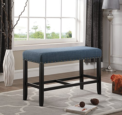 Roundhill Furniture PB162BU Biony Fabric Counter Height Dining Bench with Nailhead Trim, Blue by Roundhill Furniture