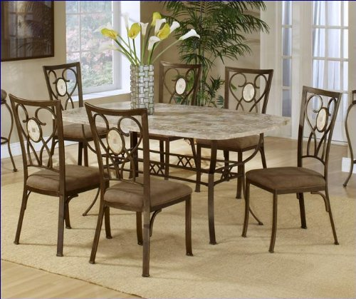 (Hillsdale Brookside Rectangle Dining Table, Brown Powder Coat Finished Base and Fossil Stone Top )