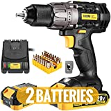 """Cordless Drill, 20V Drill Driver 2x2000mAh Batteries, 530 In-lbs Torque, 24+1 Torque Setting, Fast Charger 2.0A, 2-Variable Speed, 33pcs Accessories, 1/2"""" Metal Keyless Chuck, Upgraded Version TECCPO"""