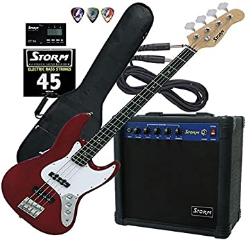 Harley Storm JB20TRDPACK2 Pack de Bajo en Color Rojo con amplificador