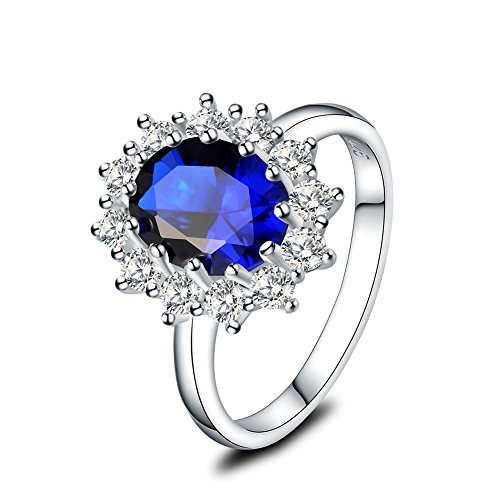 Princess Diana Sapphire Ring - Mozume Princess Diana Kate Middleton Engagement Ring Halo 9x7mm Blue Sapphire 925 Sterling Silver (8)
