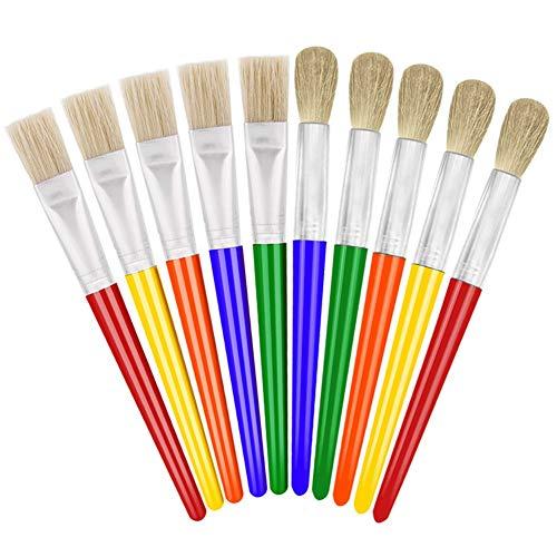 anezus 10 Big Paint Brushes Round and Flat Hog Bristle Paint Brushes for Washable Paint Acrylic Paint