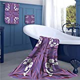 warmfamily Mauve Print bathroom accessories set Exquisite Butterfly Icons Spiritual Animal with Wings Fairy Illustration personalized hand towels set Lavender and White