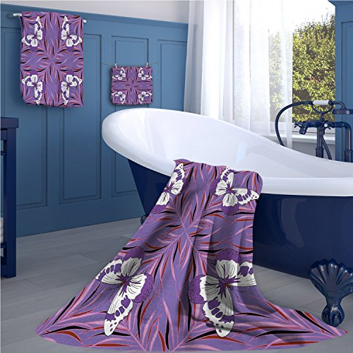 warmfamily Mauve Print bathroom accessories set Exquisite Butterfly Icons Spiritual Animal with Wings Fairy Illustration personalized hand towels set Lavender and White by warmfamily