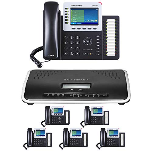 (Business Phone System by Grandstream: Ultimate Package Including Auto Attendant, Voicemail, Cell & Remote Phone Extensions, Call Recording & Free Phone Service for 1 Year (6 Phone Bundle))