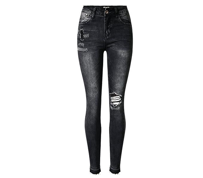 Pantalones Vaqueros Negros Mujer Cintura Alta Rotos Jeans ...