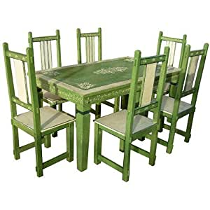 Amazon.com: 7pc Solid Wood Green Distressed Kitchen Dining ...
