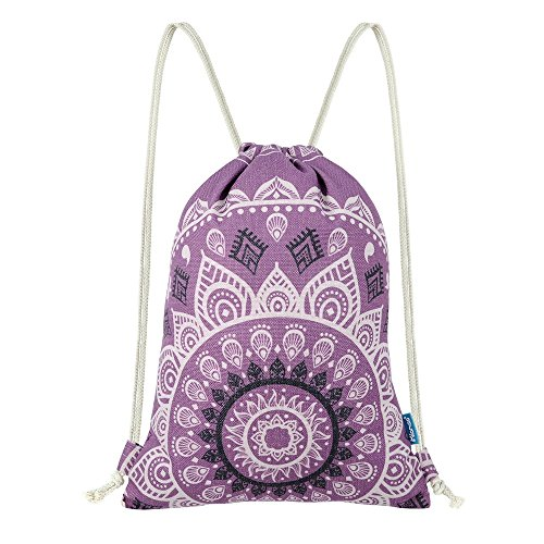 Miomao Drawstring Backpack Gym Sack Pack Mandala Style String Bag With Pocket Canvas Sinch Sack Sport Cinch Pack Christmas Gift Bags Beach Rucksack 13 X 18 Inches Lilac Purple by Miomao