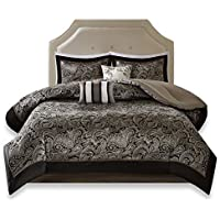 Comfort Spaces Charlize 5 Piece King Size Comforter Set Paisley Jacquard Bedding, King/Cal-King-Blanket, Black and Gold