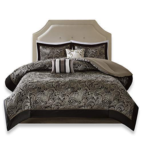 Comfort Spaces Charlize 5 Piece King Size Comforter Set Paisley Jacquard Bedding, Black and Gold