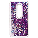IKASEFU Clear Glitter Case for Motorola Moto G (3rd Generation) ,Cool Novelty Funny Hard Flowing Glitter Stars Clear Liquid Shell Case Cover for Motorola Moto G (3rd Generation) -Purple
