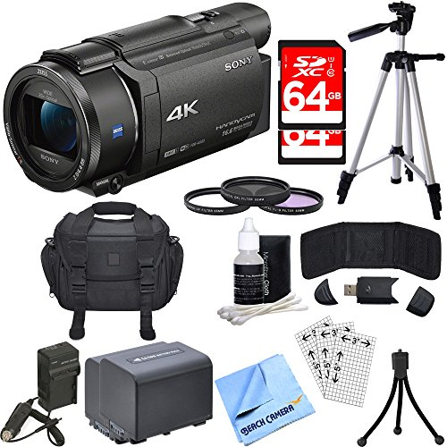 Sony FDR-AX53/B 4K Handycam Camcorder Deluxe Bundle includes Handycam, 55mm Filter Kit, Battery x 2, Charger, 64GB SDXC Memory Card x 2, Bag, Tripod, Card Reader/Wallet, Beach Camera Cloth and More!