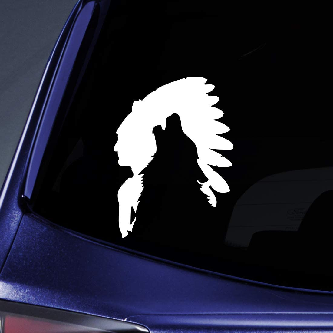 """Bargain Max Decals Indian Chief Wolf Silhouette Sticker Decal Notebook Car Laptop 5.5"""" (White)"""