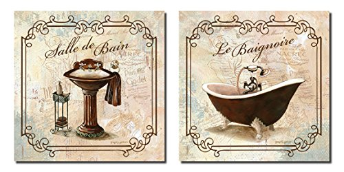 2 French Bathtub and Pedestal Sink Bathroom Art Prints Elegant Classy 12x12