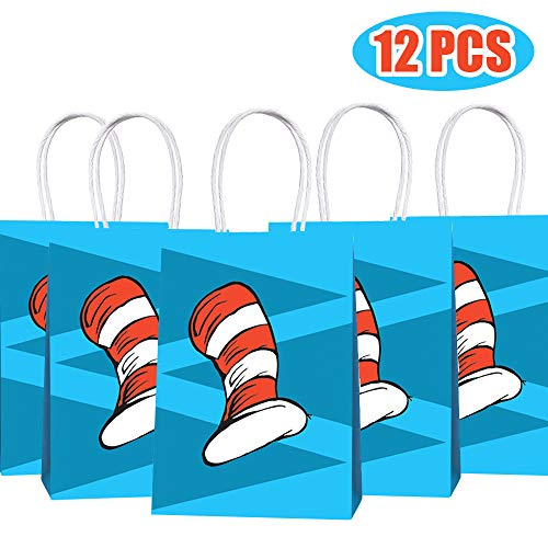 Dr Seuss Birthday Party Theme (Happy Storm Cat's Hat Goodie Bags Cat Knows A Lot About That Birthday Party Supplies Favor Paper Gift Bags Goods Filling with Candies Toys Goods for Kids Baby Shower Party)