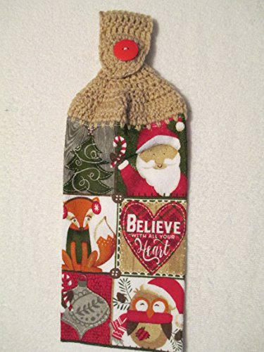 Crocheted Christmas Believe with all your Heart Kitchen Towel with Tan Yarn