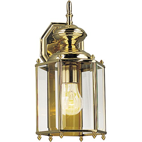 10 Brass Light Solid - Progress Lighting P5832-10 Weathered Solid Brass Hexagonal Wall Lantern with Beveled Glass, Polished Brass