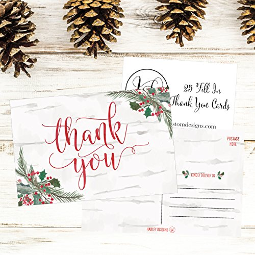 25 4x6 Woodland Christmas Holiday Thank You Postcards Bulk, Blank Cute Modern Fancy Winter Note Card Stationery For Wedding, Bridesmaids, Bridal or Baby Shower, Teachers, Religious, Business Cards Photo #2