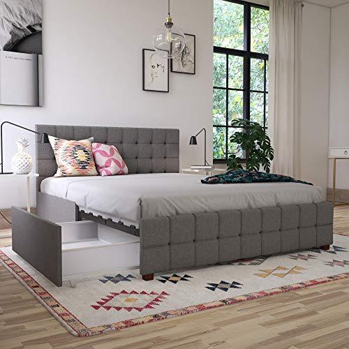 CosmoLiving by Cosmopolitan 4327429CL Elizabeth Bed, Full, Grey Linen