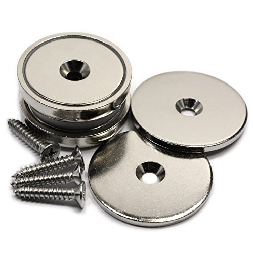 CMS Magnetics 112 LB Neodymium Cup Magnets w/Countersunk Hole & Matching Strikers and Screws Dia 1.57 - 2 Pack
