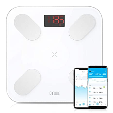 PICOOC S3 Lite Body Fat Scale Wi-Fi App Artificial Intelligence Extra Wide Design Body Fat Water Muscles Apple Android White