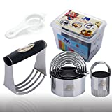 #4: Pastry Cutter Set Biscuit Cutter Set (5 Circle+1Fluted Edge) Dough Blender Mixer Cookie Cutters Round Baking Dough Tools & Pastry Utensils with Egg Separator GIFT BOX!