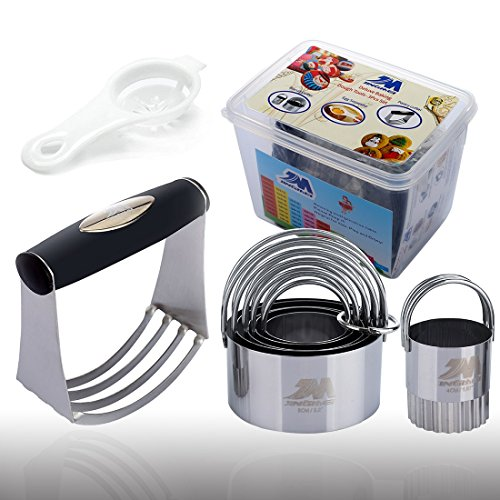 Pastry Cutter Set Biscuit Cutter Set (5 Circle+1Fluted Edge) Dough Blender Mixer Cookie Cutters Round Baking Dough Tools & Pastry Utensils with Egg Separator GIFT BOX! ()