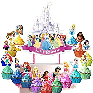 31 Decorations for Disney Princess Cake Topper Cupcake Toppers Set Birthday Party Supplies Decor