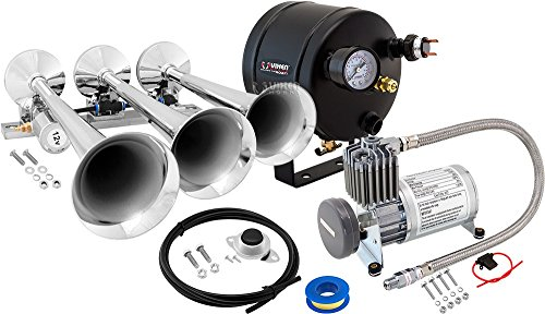 Trumpet Chrome Horn - Vixen Horns Loud 149dB 3/Triple Chrome Trumpet Train Air Horn with 0.5 Gallon Tank and 150 PSI Compressor Full/Complete Onboard System/Kit VXO8805/3118