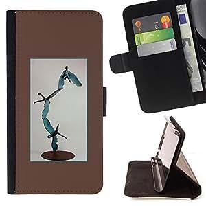BullDog Case - FOR/Samsung Galaxy S6 EDGE / - / STATUE MODERN ART ABSTRACT BOY FLYING /- Monedero de cuero de la PU Llevar cubierta de la caja con el ID Credit Card Slots Flip funda de cuer