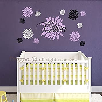Personalized Baby Girl Name With Dahlia Flowers Vinyl Wall Decal For Baby Girl Nursery Teen Room & Amazon.com: Personalized Baby Girl Name With Dahlia Flowers Vinyl ...