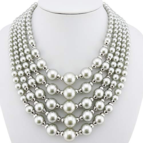 Necklace Pearl Acrylic (Firstmeet FIRSTMET Multi-Layer Handmade Pearl Bib Necklace for Women (XL-1020-grey))