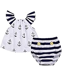 Infant Baby Girls Off Should Anchor Tops+Striped Briefs Outfits Set Sunsuit Clothes
