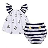 Toddler Child Women Off Ought to Anchor Tops+Striped Briefs Outfits Set Sunsuit Garments (Three-6M, White&Navy Blue)