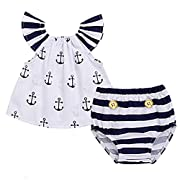 Infant Baby Girls Off Should Anchor Tops and Striped Briefs Outfits Set Sunsuit Clothes Tag size 80(6-12M, White and Navy Blue)