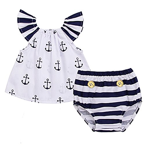Infant Baby Girls Off Should Anchor Tops+Striped Briefs Outfits Set Sunsuit Clothes (0-3M, White&Navy Blue)]()