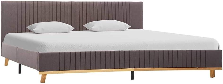 vidaXL Estructura de Cama de Tela Estructura Somier de Cama de Tela sin Colchón en Habitación en Dormitorio Gris Topo 160x200 cm