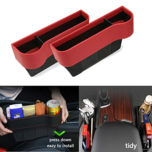 LC novel Car Seat Storage Organizer & car seat Filler Gap & Card Wallet iPhone Cigarette Lighter and Coin Package for car & Trash can for car 2 Pack 4 Color Optional (Upgrade red)