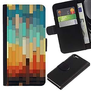 iKiki Tech / Cartera Funda Carcasa - 3D Teal Pastel Orange Brown - Apple iPhone 6