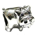 .925 Sterling Silver Cute Cow Bead For European Chamilia Biagi Troll Pandora Charm Bracelets