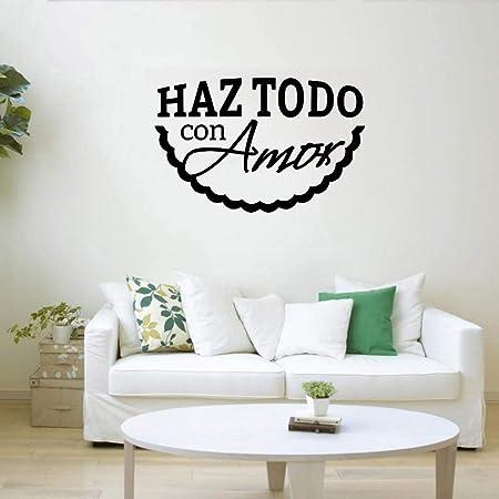 supmsds Hacer Todo con Amor Etiqueta de la Pared española para Sala de Estar Vinilo Tatuajes de Pared Aula Dormitorio Decoración Accesorio Moderno 63x97.5cm: Amazon.es: Hogar
