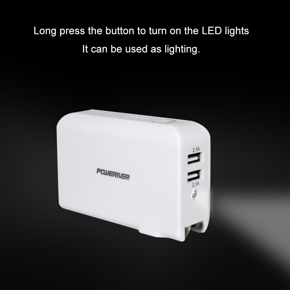 Wall Charger Power Bank, Poweriver Battery Portable Charger, 2-in-1 5000mAh with Foldable AC Plug for iPhone, iPad, Android, Tablets, Samsung Galaxy and More-White